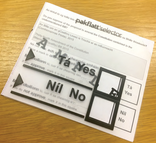 Image of the tactile ballot paper