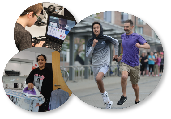 3 images depicting young people doing computer work, exercising and ironing.
