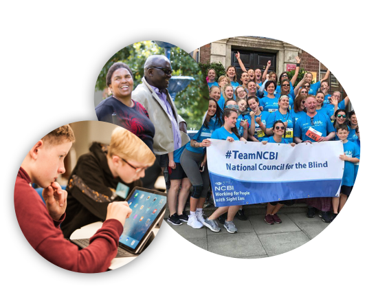 3 images, one of a child using an ipad, one of two people laughing, and one of team NCBI at the VHI mini marathon