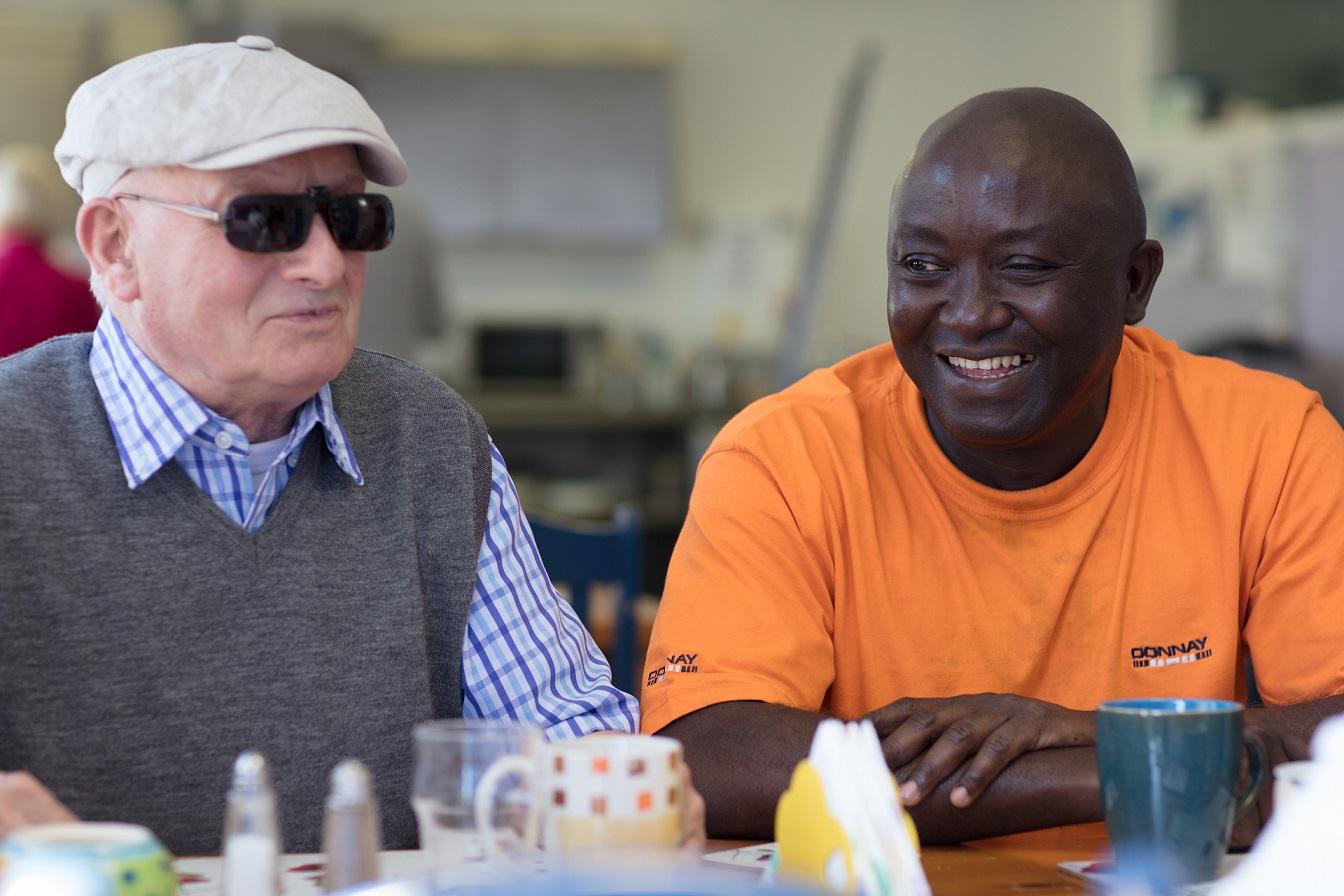 Two men enjoying a conversation