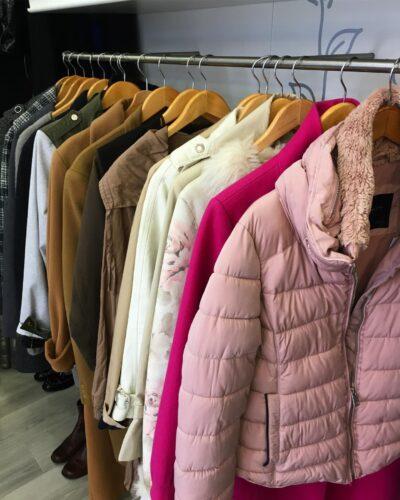 rail full of women winter coats