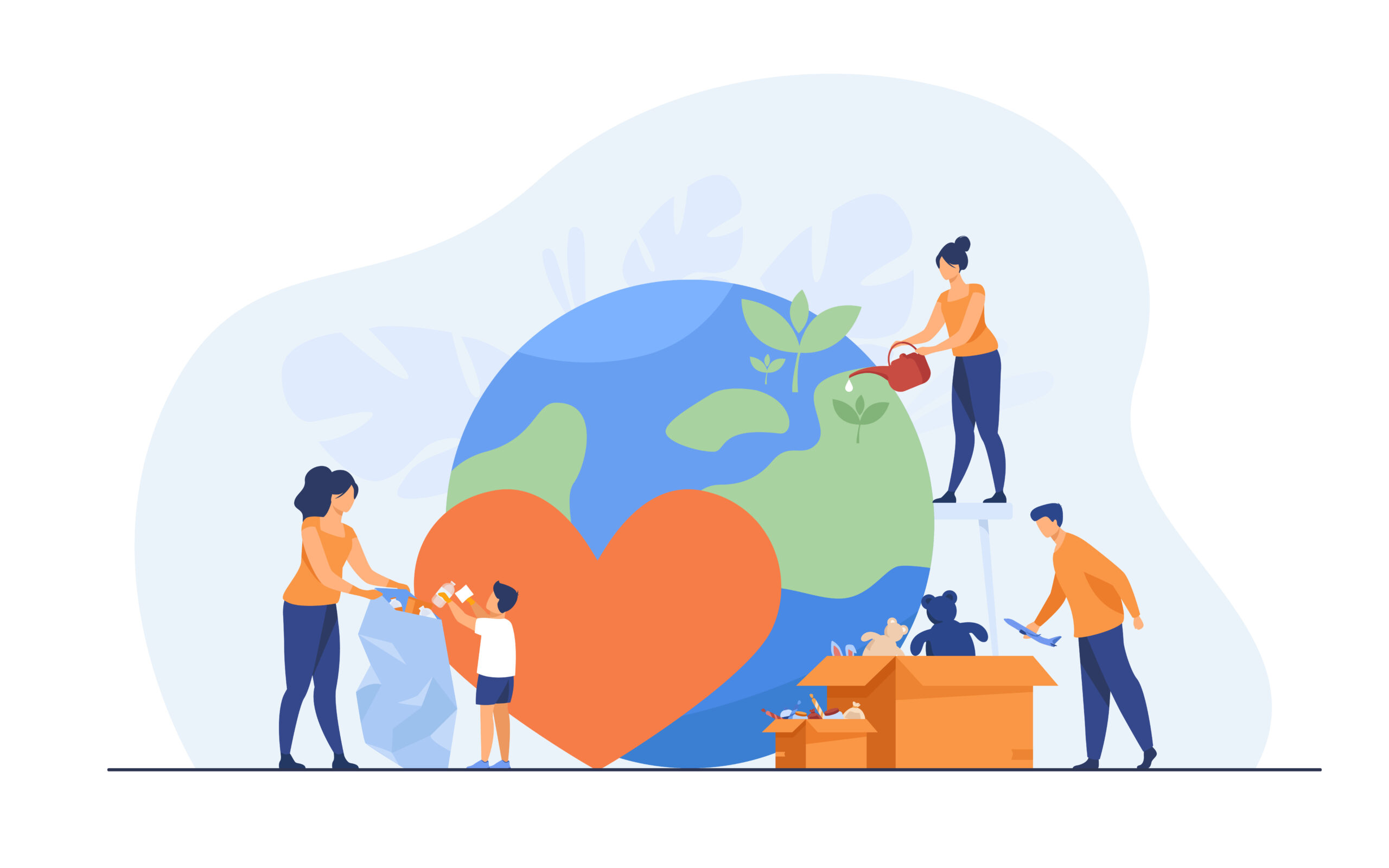 illustration of a social team helping charity and sharing hope