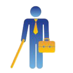 icon of a person using a long came and holding a briefcase