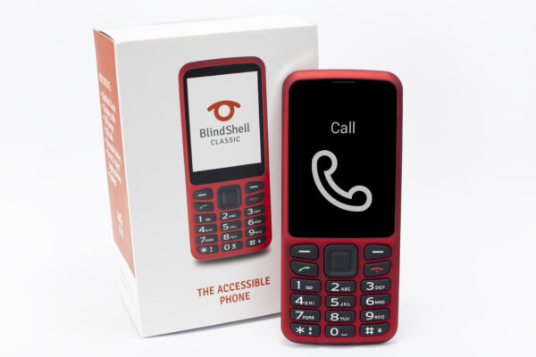 BlindShell Classic mobile phone in red