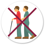 Icon showing someone grabing a blind person's arm
