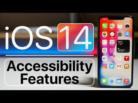 """iPhone in upright position on table to the right of text that reads """"iOS14 Accessibility Features"""""""