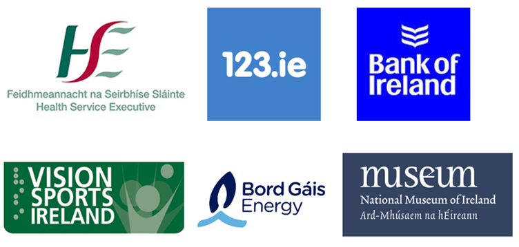 Company logos for: HSE, 123.ie, Bank of Ireland, Vision Sports Ireland, Bord Gáis, National Museum of Ireland