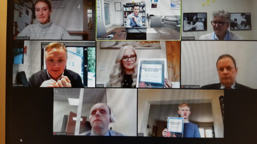 Gerard Byrne Bursary Recipients in a online video call