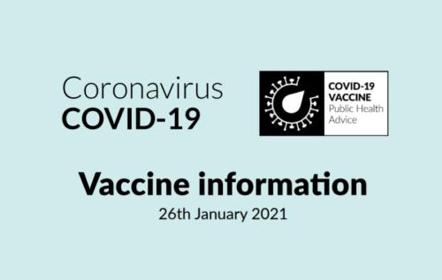 Coronavirus Covid-19, Vaccine information 26th January 2021
