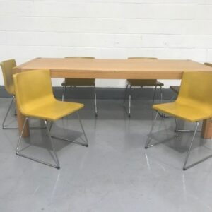 Long Wooden Dining table with six matching Mustard leather Chairs