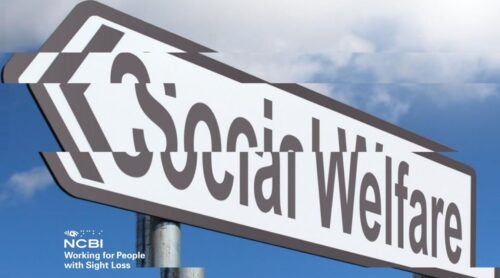 Distorted image of social welfare sign post