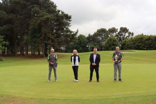 Esker Hills Golf Club – Damian Guinan & Arthur Marsh 2020 winners with head of Fundraising Joe McKenna and Helen Ryan