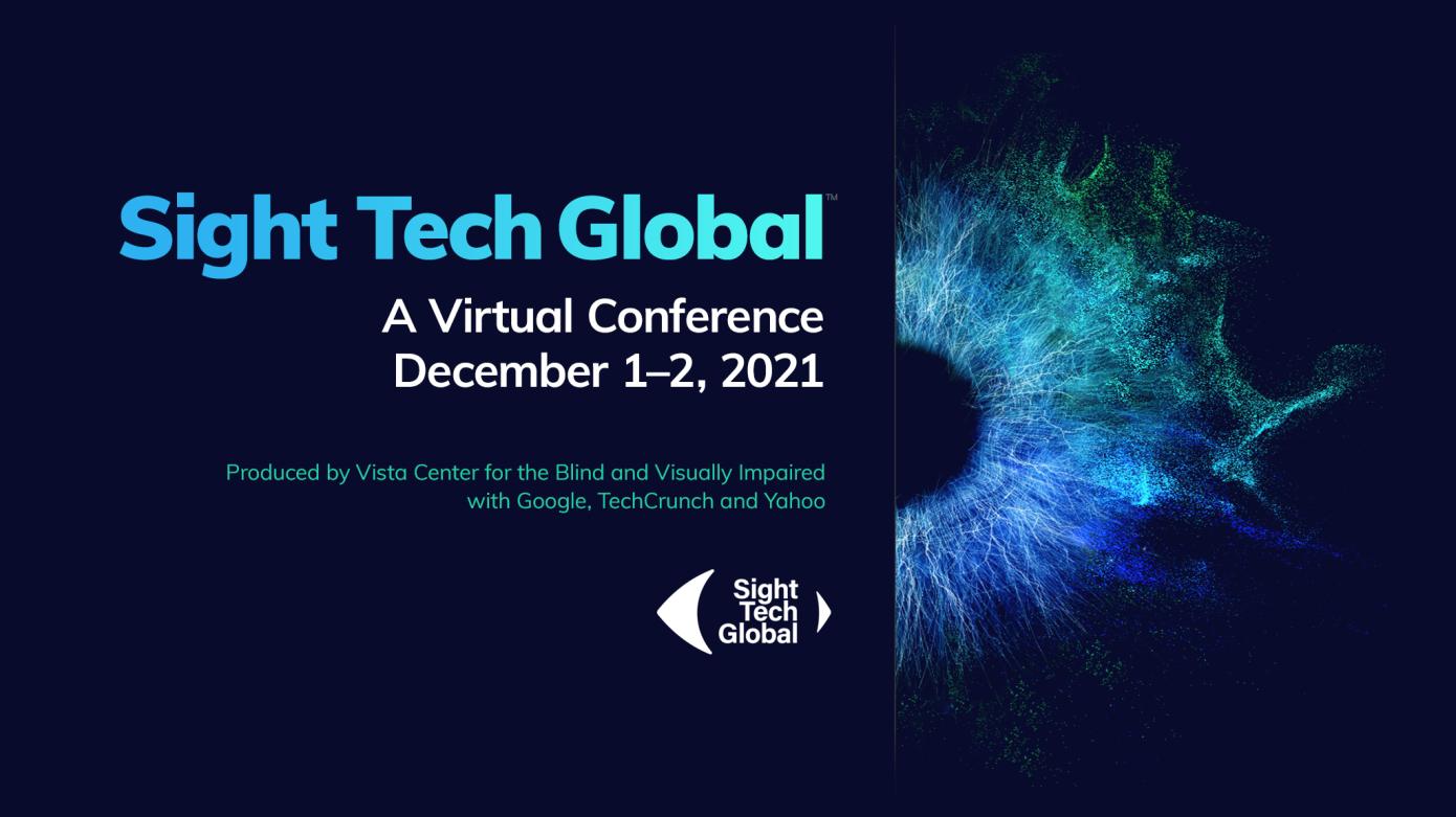 Sight Tech Global 1st & 2nd December next to image of an blue iris of an eye